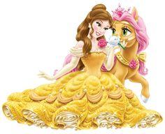 Disney_Princess_Belle_with_Cute_Pony_Transparent_PNG_Clip_Art_Image_1.png