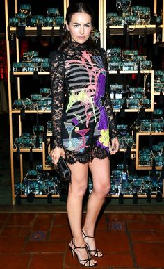 Camilla Bella in a lace printed Marc Jacobs minidress
