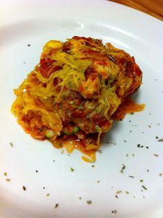 the cavegirl dish:  Spaghetti Squash Lasagna 1 Spaghetti Squash 1 Egg 1 Zucchini 4 Cloves of garlic 1 Green hot pepper Minced onion Chicken Breast (ground or diced) Italian sausage Paprika Cayenne pepper Sage Oregano Tomato Sauce/Paste