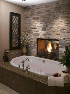 Bathroom with a fireplace inside