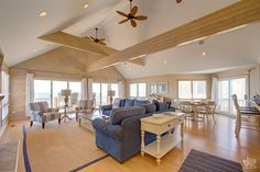 Open floor plan and vaulted ceilings | Outer Banks Vacation Rentals | Oyster Palace| Oceanfront House | #BeachHouse