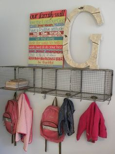 Coat rack, wire basket with hook. Gives you shelves, storage and a place to hang bags, bath robes, coats, jewelery etc...