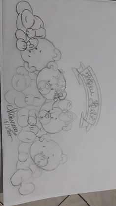 Baby Embroidery, Hand Embroidery Designs, Embroidery Patterns, Funny Cartoon Drawings, Disney Drawings, Baby Clip Art, Baby Art, Art Drawings Sketches Simple, Pencil Art Drawings