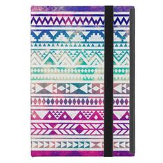 Cute Girly Colorful Pastel Nebula Aztec Pattern Cover For iPad Mini - click/tap to personalize and buy