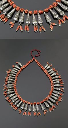 Morocco - Anti Atlas region, Draa Valley | Necklace; silver and coral