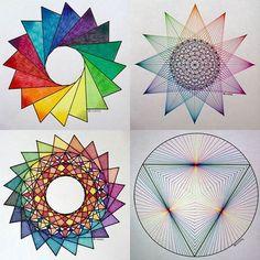 Geometry - Life Through a Mathematician's Eyes Sacred Geometry Patterns, Geometry Art, Tessellation Patterns, Mandala Pattern, Really Cool Drawings, 3d Art Projects, Graph Paper Art, Mandala Art Lesson, Nail String Art