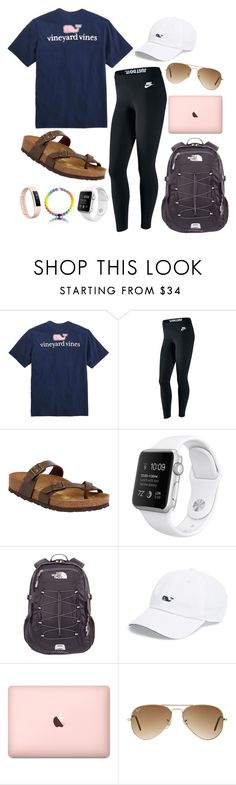 :) by galaxycloset on Polyvore featuring Vineyard Vines, NIKE, Birkenstock, The North Face, Ray-Ban and Fitbit