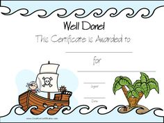 A Selection Of Free Printable Award Certificates With A Pirate