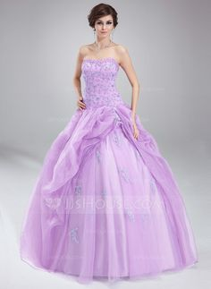 Corte de baile Escote corazón Vestido Organdí Vestido de quinceañera con Volantes Encaje Bordado (021004660)