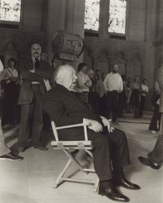 Alfred Hitchcock on the set of Frenzy