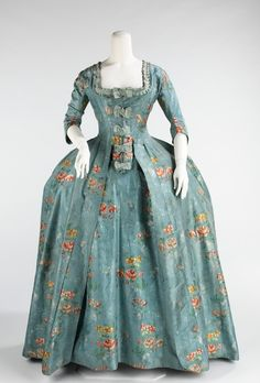(Robe à la Française) Dress, French ca. 1760-1770 silk, cotton