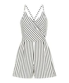 a2c560780056 White Stripe Wrap Front Strappy Playsuit