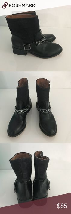 Loft moto chain sweater leather boots Cool moto boots with silver ankle chain. The top half of the boots are made of a dark gray wool-ish material and the rest is leather. Great condition. Has some wear on the ankle straps. LOFT Shoes Combat & Moto Boots