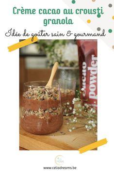 Découvre ma #recette de choco-crèmes au crousti-granola.  Savais-tu que le cacao cru est un #superaliment? Anti-dépresseur, anti-stress et anti-oxydant, il regorge de vitamines et minéraux. 💥 Associé aux dattes et à quelques oléagineux, il te donnera en plus le coup de boost nécessaire pour bien terminer ta journée.#idée #collation #snack #chocolat #cacao #sain #gourmand #dessert #nutrition #santé #cuisine #kazidomi