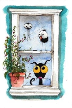Original watercolor painting whimsical Stressie Cat bird crow pot plant window #IllustrationArt