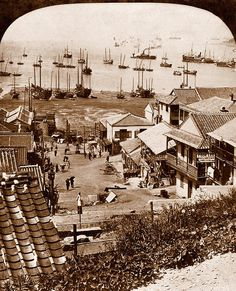 CHEMULPO City and Harbor at Low Tide (Street Divides Chinese and Japanese Settlements) 1904  Photo by Australian Photographer GEORGE ROSE, 1904.