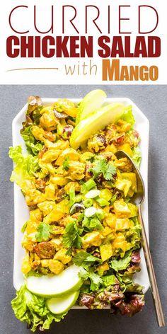 Mango Recipes, Easy Salad Recipes, Dinner Recipes, Juice Recipes, Delicious Recipes, Mango Chicken Salads, Chicken Curry Salad, Mango Chicken Curry, Best Chicken Recipes