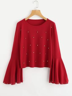 Fluted Sleeve Pearl Beaded Top