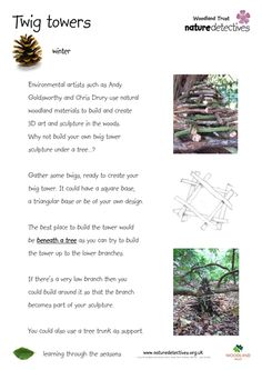 Get building with twigs. Have a twig tower-building contest - who can build the tallest and the strongest tower? Then once you've built your tower, half th. Outdoor Education, Outdoor Learning, School Fun, School Ideas, Forest School, Wild Nature, Eyfs, Horticulture, Botany