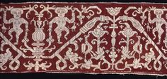 Spain    Three Border Fragments, Late 16th/early 17th century    Linen, plain weave; pulled thread work embroidered with silk back, running and two-sided Italian cross stitches; edged with darning stitch  b: 16.8 x 42.7 cm (6 5/8 x 16 7/8 in.)  c: 17.5 x 42.7 cm (6 7/8 x 16 7/8 in.)  Gift of the Antiquarian Society, 1894.23b-c  in Chicago Art Institute