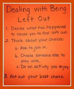 I like this advice because it gives you ways deal with hurt feelings positively. great skillset to help our students and ourselves develop :-) Dealing With Being Left Out - Skillstreaming Elementary School Counseling, School Social Work, School Counselor, Social Skills Activities, Counseling Activities, Coping Skills, Life Skills, Buddy Bench, Feeling Left Out