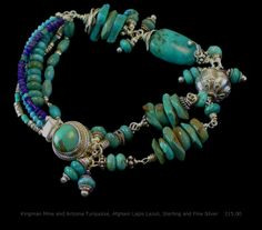 Kingman Mine and Arizona Turquoise, Afghani Lapis Lazuli, Sterling and Fine Silver Bracelet  One of a kind and handmade by A. Denise Rollings-Martin  $215.00 www.lilygirlart.com