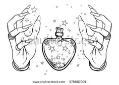 Vintage Astronomy: human hands with heat-shaped bottle or jar with stars inside. Vector illustration isolated on white. Aastrology alchemy magic space and nature. Tattoo Drawings, Art Drawings, Magic Drawing, Bottle Drawing, Flash Design, Witch Art, Flash Art, Book Of Shadows, Drawing Reference