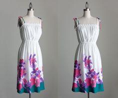 Floral Sun Dress 1980s Vintage Floral Print White by decades, $62.00
