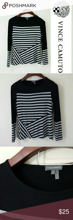 Vince Camuto | striped long sleeve top | L In excellent condition! Gorgeous Vince Camuto top, size large. Amazingly soft material! Gray and black.  Women's size large.  Bundle up! Offers always welcome:) Vince Camuto Tops