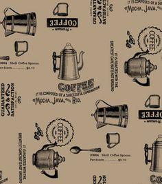 Utility Fabric- Printed Burlap Rustic Coffee