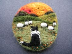 Hand Made Needle Felted Brooch/Gift - ' Gwen and the Sunset' by Tracey Dunn Hand Made Needle Felted Brooch/Gift - Gwen and the Sunset by Tracey Dunn Felted Wool Crafts, Felt Crafts, Needle Felted Animals, Felt Animals, Felt Pictures, Needle Felting Tutorials, Felt Brooch, Brooch Pin, Felt Embroidery