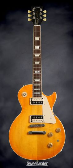 GIBSON Les Paul Classic - Lemon Burst, 2014 | Sweetwater Music Guitar, Cool Guitar, Playing Guitar, Acoustic Guitar, Gibson Les Paul, Modern Man Cave, Les Paul Guitars, Guitar Collection, Gibson Guitars
