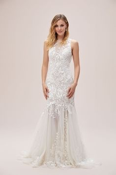 An illusion high neck and sweeping, sheer point d'esprit skirt frame this feminine, floral lace mermaid wedding gown. Available in Sydney, Melbourne & Online. Lace Mermaid, Mermaid Wedding, Affordable Bridal, Bridal Gowns, Wedding Dresses, Applique Wedding Dress, Wedding Goals, Boho Bride, Wedding Inspiration
