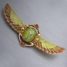 Antique Art Nouveau Scarab Brooch Egyptian Revival
