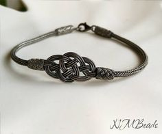 Mens Celtic Double Love Knot Bracelet Oxidized Fine Silver Woven Chain Nautical Man Jewelry Viking Knit Boyfriend Gift For Him ---Express Shipping on All Orders--- I use many of the traditional techniques in my designs. This bracelet is one of them. Each part of this bracelet is