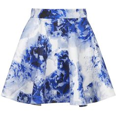 TOPSHOP **Floral Skater Skirt by WYLDR ($30) ❤ liked on Polyvore featuring skirts, bottoms, saias, faldas, multi, floral skater skirt, flower print skirt, blue skater skirt, floral knee length skirt and floral print skirt