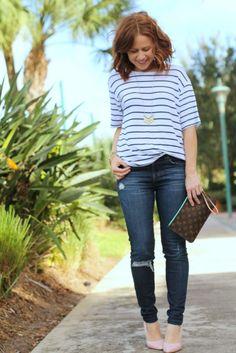 Stripes & Blush Heel