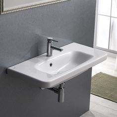 Nameeks CeraStyle Hole White / One Hole Noura Plus Ceramic Wall Mounted/Drop in Bathroom Sink with Single hole Faucet Holes Drilled - Includes Overflow Drop In Bathroom Sinks, Drop In Sink, Bathroom Vanity Tops, Single Bathroom Vanity, Small Bathroom, Bathroom Ideas, Handicap Bathroom, Small Sink, Bath Ideas