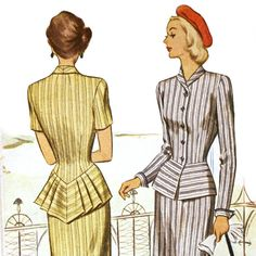 1940s Pleated Peplum Suit Pattern - McCall 7188 Bust 36 / M. $20.00, via Etsy. - I would love one of my bridesmaids to wear this in a tweed or wool maybe :)