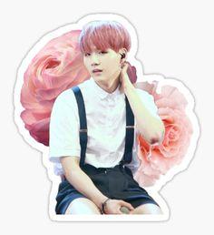 BTS Suga Pink Flowers Sticker