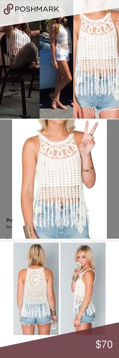 SHOW ME YOUR MUMU crochet fringe crop Bought from show me your Mumu. Worn about twice, no signs of any wear or tear at all, looks brand new. It's crochet and so adorable as shown my celebrities. Size xs, also fits small. Make an offer!! Need to sell Show Me Your MuMu Tops Tank Tops