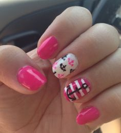 Pink and white anchor nail design