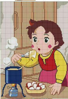 Heidi Cross Stitch Baby, Cross Stitch Charts, Cross Stitch Patterns, Knitted Jackets Women, C2c Crochet, Friendship Bracelet Patterns, Anime, Betty Boop, Pixel Art