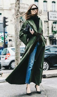 Amazing long dark green jacket