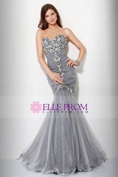 Silver mermaid prom dress