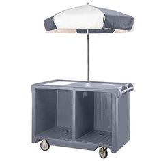Cambro Camcruiser Granite Gray Customizable Vending Cart with Counter Well, and 2 Storage Compartments