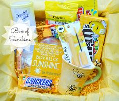 "Happy-Go-Lucky: Brighten Someone's Day with a Box of Sunshine Great idea for a friend who is ""blue"". :)"