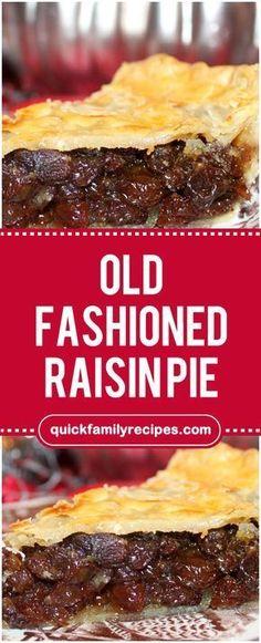 Old Fashioned Raisin Pie – taart Rasin Pie Recipes, Old Fashioned Raisin Pie Recipe, Raisin Pie Filling Recipe, Raisin Recipes, Just Desserts, Dessert Recipes, Just Pies, Fruit Pie, Potato Pie