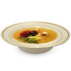 Fineline Gold Splendor 512BN Bone White 12 oz. Plastic Soup Bowl with Gold Bands - 150 / CS