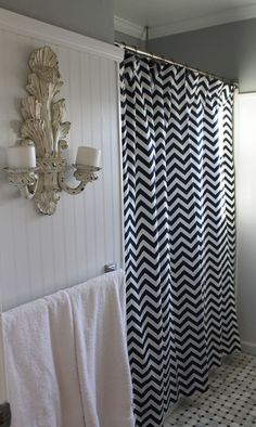 Black And White Striped Shower Curtain Pottery Barn